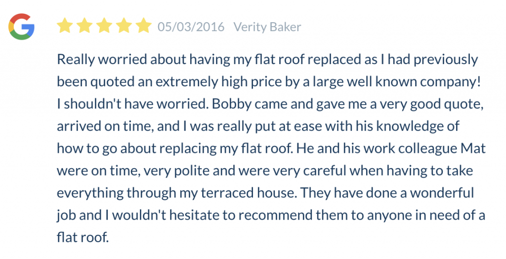 5 Star Review for the roofing work completed by Ely Roofing Company